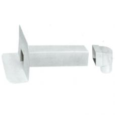 Воронка парапетная прямоугольная 65х100мм 90* L-450 мм ПВХ с угловым отводом D100 65х100мм