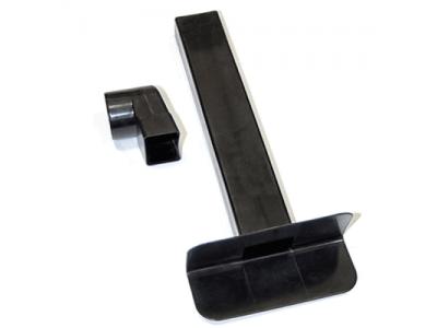 Воронка парапетная прямоугольная (скапер) ТП-01.П.ПП черная 65x100мм 90* L=550 мм с угловым отводом